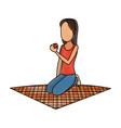 girl eating apple on lunch camping blanket vector image