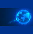 global network connection background blue world vector image vector image