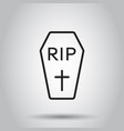 halloween grave icon in line style on isolated vector image