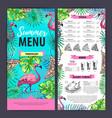 hand drawing summer menu design with flamingo vector image