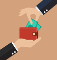Hand pick a money from other wallet vector image vector image