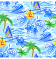 Hawaiian waves seamless pattern vector image