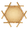 hexagonal brown bamboo frame with rope and old vector image vector image