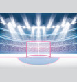ice hockey stadium with spotlights and red goal vector image