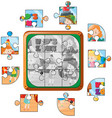 jigsaw puzzle game with kids playing vector image vector image