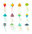 kites set geometric colored devices for launching vector image vector image