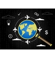 Magnifier icon with plane vector image vector image