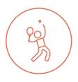 Man playing big tennis line icon vector image vector image