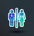 Man Woman restroom sign icon button logo symbol vector image