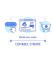 medicines order concept icon online pharmacy idea vector image vector image
