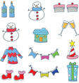 Object christmas color collection in doodle vector image
