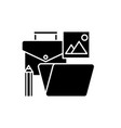 office tools black icon sign on isolated vector image vector image