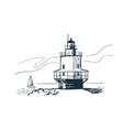 portland lighthouse sketch landscape line skyline vector image