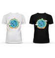 Print on t-shirt with hands holding earth vector image vector image