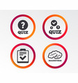 quiz icons checklist and human brain symbols vector image