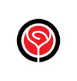 red rose flower logo icon vector image