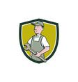 Repairman Holding Spanner Crest Cartoon vector image vector image