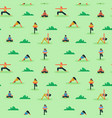 seamless pattern diverse people doing yoga vector image