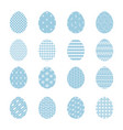 set of blue easter eggs with white decoration vector image