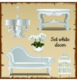 Set of furniture in white classic style vector image vector image