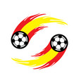 soccer or football with fire tail in spain flag vector image vector image