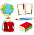 Sticker set with different stationaries vector image vector image