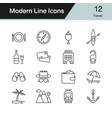 travel icons modern line design set 12 vector image