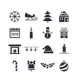 winter and holidays icon set in glyph style vector image