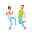 young couple in casual clothes dancing colorful vector image