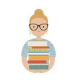 young student girl wearing glasses holding stack vector image
