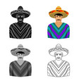 mexican man in sombrero and poncho icon in cartoon vector image