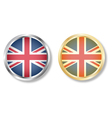 UK flag button with silver and gold vector image