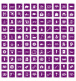 100 economy icons set grunge purple vector image vector image