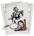 alarmed cowboy at door bar vector image vector image
