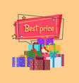 best price inscription in square bubble presents vector image