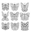 black and white butterflies collection coloring vector image