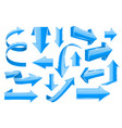 blue arrows collection web 3d shiny icons vector image vector image