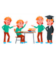 boy schoolboy kid poses set high school vector image
