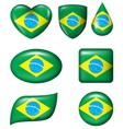 Brazilian Flag in various shape glossy button vector image vector image