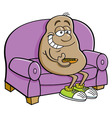 Cartoon potato sitting on a couch vector image vector image
