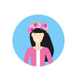 cheerful asian woman face avatar girl in wreath of vector image