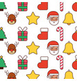 christmas decoration santa sock gift cane star vector image