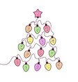 christmas garland fun bulbs vector image vector image