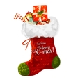 Christmas sock with gift greeting card design vector image