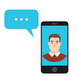 concept of online chat man app icon vector image vector image