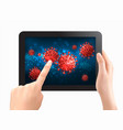 coranavirus concept background two hands touch vector image