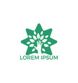 creative green hand tree and star logo design vector image vector image