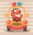cute dino drive funny car vector image