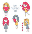 cute girls with hearts vector image
