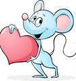 cute mouse hold red heart vector image vector image